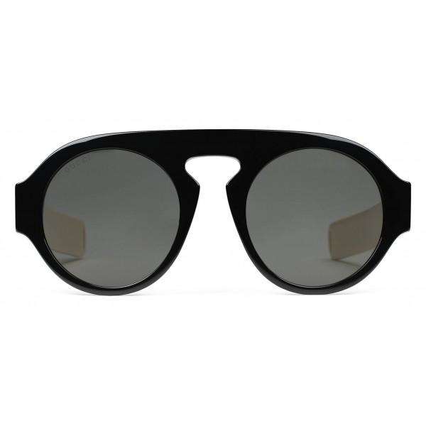 a72ec11703 Gucci - Round Acetate Sunglasses - Black Acetate Grey Lenses - Gucci  Eyewear - Avvenice