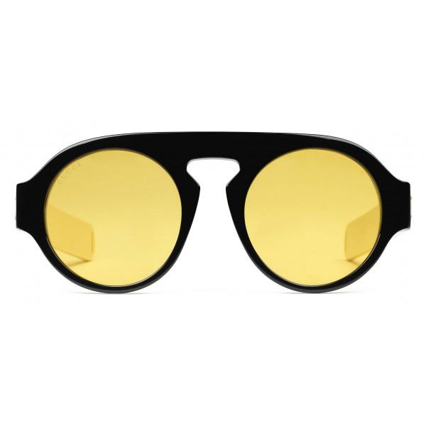 50b831a485 Gucci - Round Acetate Sunglasses - Black Acetate Yellow Lenses - Gucci  Eyewear