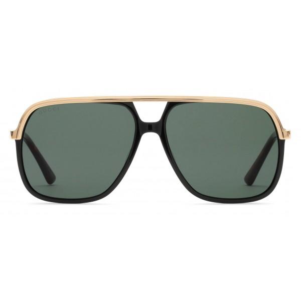91d0a2d4a062 Gucci - Rectangular Metal Sunglasses - Black Metal Green Lenses - Gucci  Eyewear