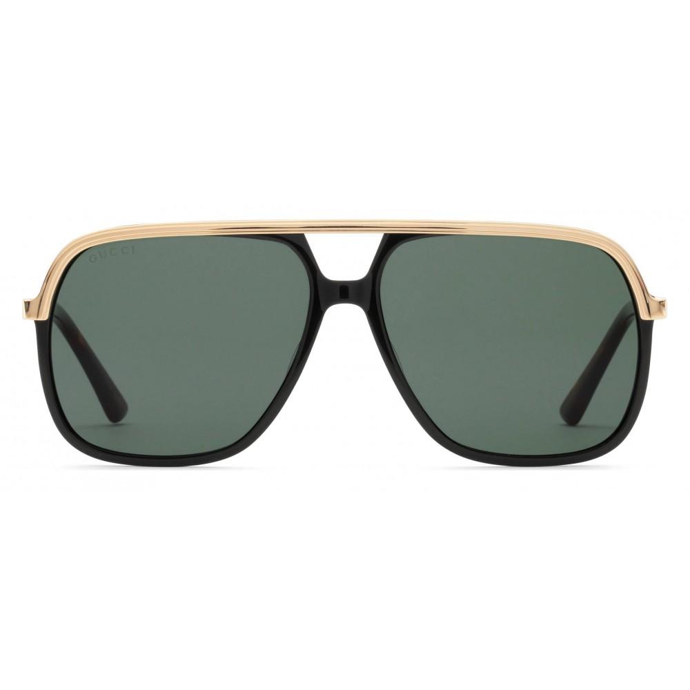 6ecb8b9c7ca0 Gucci - Rectangular Metal Sunglasses - Black Metal Green Lenses - Gucci  Eyewear ...