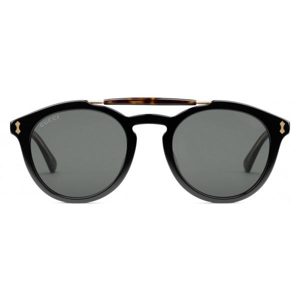 informazioni per dettagli per prezzo onesto Gucci - Occhiali da Sole Rotondi in Acetato - Acetato Nero con Dettaglio  Tartarugato - Gucci Eyewear