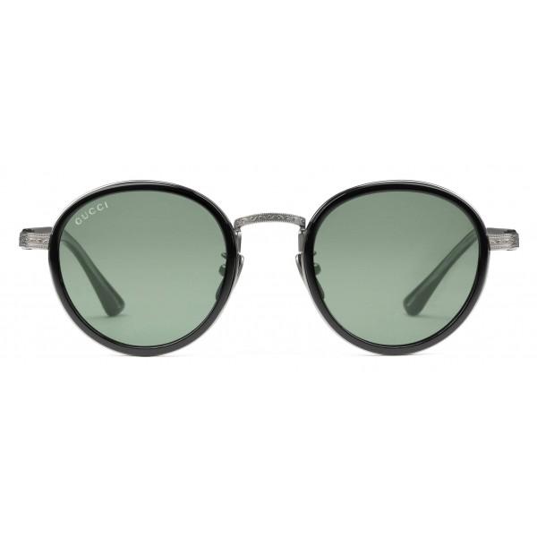 più vicino a moderno ed elegante nella moda prezzo interessante Gucci - Occhiali da Sole Rotondi in Titanio - Titanio Nero con Lenti Verdi  - Gucci Eyewear