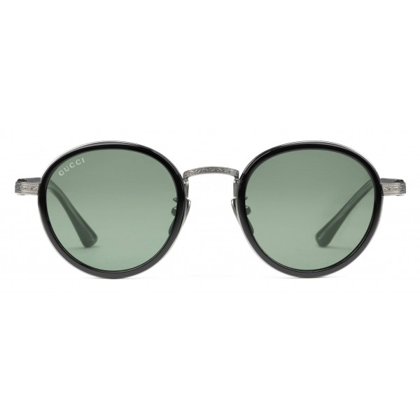 e8c50d2e27c Gucci - Round Titanium Sunglasses - Black Titanium with Green Lenses - Gucci  Eyewear - Avvenice