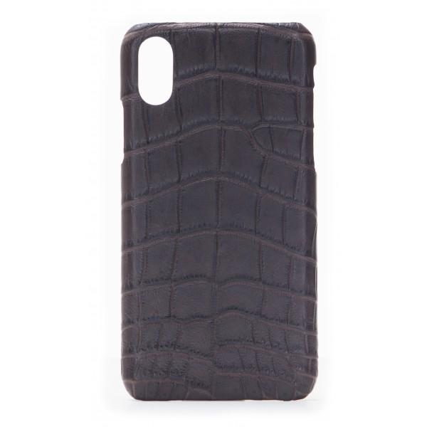 2 ME Style - Case Croco Marron - iPhone XR - Crocodile Leather Cover