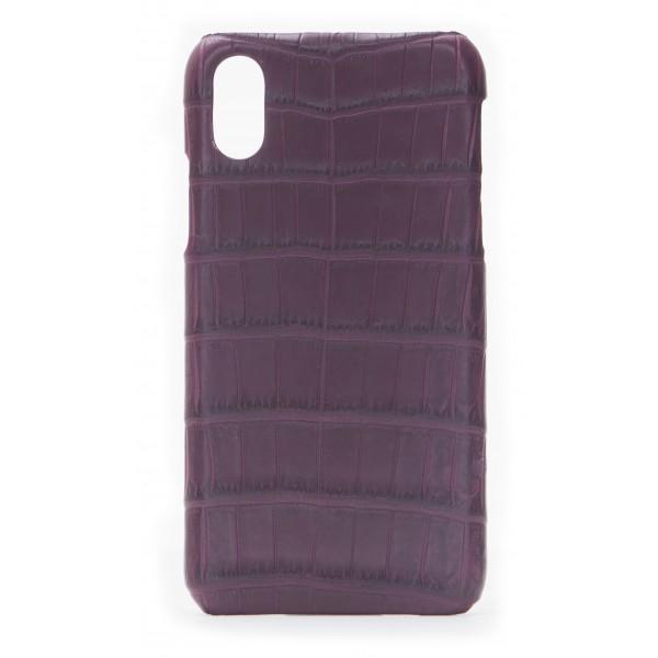 2 ME Style - Case Croco Bordeaux - iPhone XR - Crocodile Leather Cover