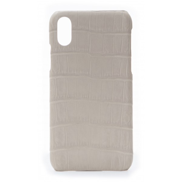 2 ME Style - Case Croco Beige - iPhone XR - Crocodile Leather Cover