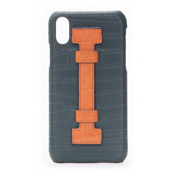 2 ME Style - Case Fingers Croco Green / Orange - iPhone XR - Crocodile Leather Cover