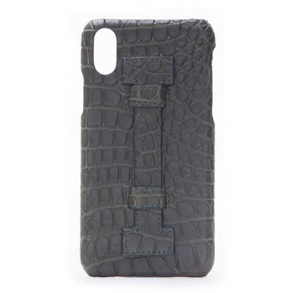2 ME Style - Case Fingers Croco Green / Green - iPhone XR - Crocodile Leather Cover