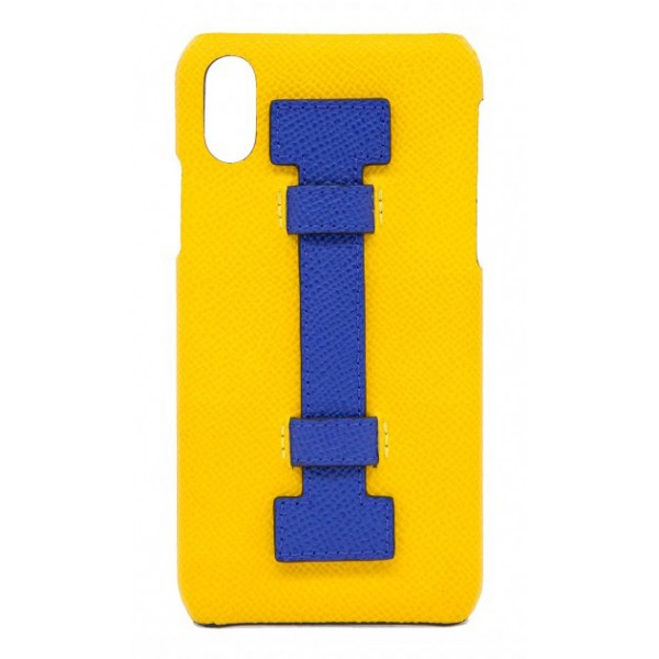 2 ME Style - Cover Fingers in Pelle Giallo / Blu - iPhone XS Max - Cover in Pelle