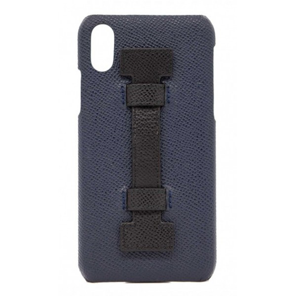 2 ME Style - Cover Fingers in Pelle Blu / Nero - iPhone XS Max - Cover in Pelle