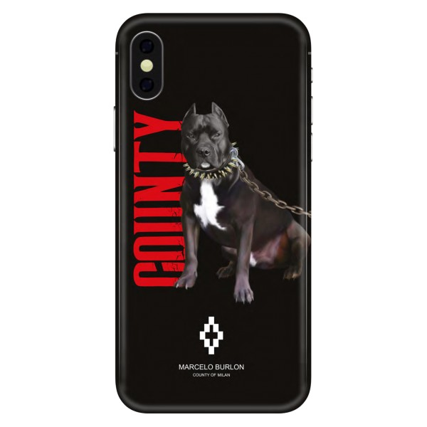 Marcelo Burlon - Cover Dog Black - iPhone X Max - Apple - County of Milan - Cover Stampata