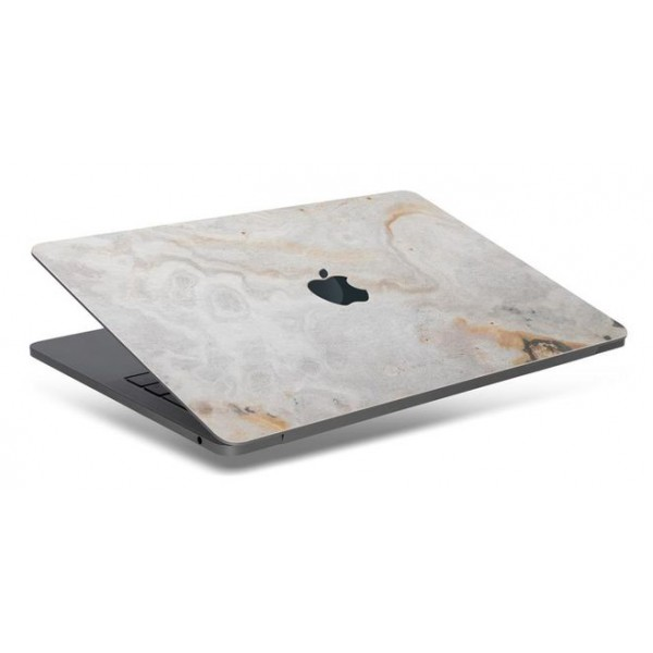 Woodcessories - Real Stone MacBook Cover - Antique White - MacBook 12 - Eco Skin Stone - Apple Logo