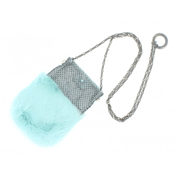 Laura B - Soft Mobile Bag - Lapin Bag with Net and Swarovski - Light Blue - Luxury High Quality Leather Bag
