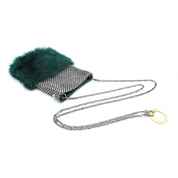 Laura B - Soft Mobile Bag - Borsa in Lapin con Rete e Swarovski - Verde Scuro - Borsa in Pelle di Alta Qualità Luxury