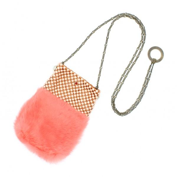 Laura B - Soft Mobile Bag - Borsa in Lapin con Rete e Swarovski - Arancione - Borsa in Pelle di Alta Qualità Luxury