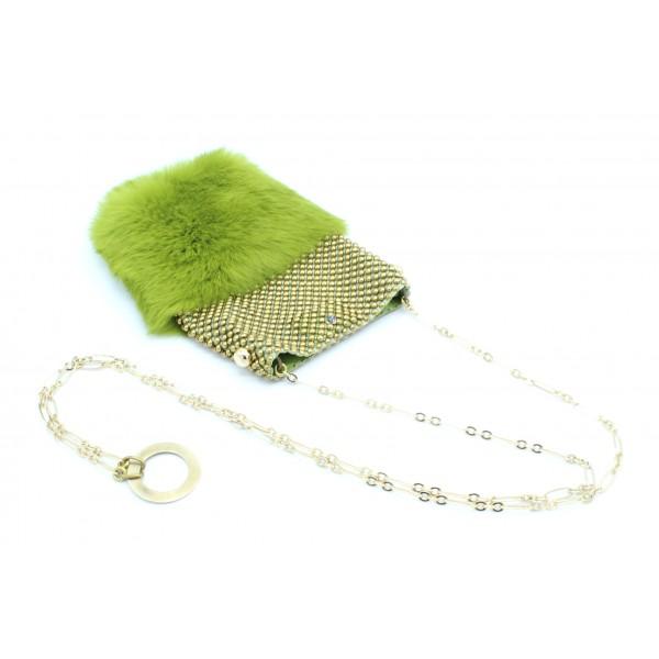 Laura B - Soft Mobile Bag - Borsa in Lapin con Rete e Swarovski - Verde - Borsa in Pelle di Alta Qualità Luxury