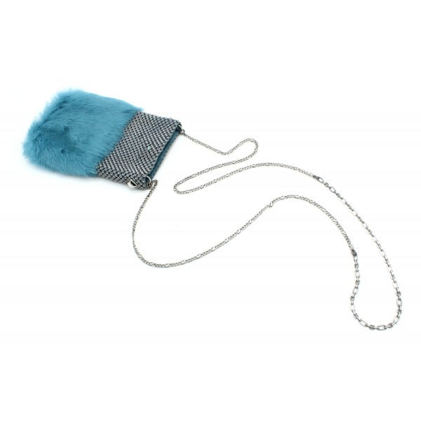 Laura B - Soft Mobile Bag - Lapin Bag with Net and Swarovski - Turquoise - Luxury High Quality Leather Bag