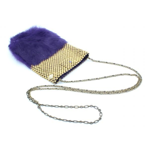 Laura B - Soft Mobile Bag - Borsa in Lapin con Rete e Swarovski - Viola - Borsa in Pelle di Alta Qualità Luxury