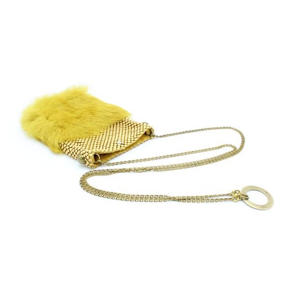 Laura B - Soft Mobile Bag - Borsa in Lapin con Rete e Swarovski - Giallo Mostarda - Borsa in Pelle di Alta Qualità Luxury