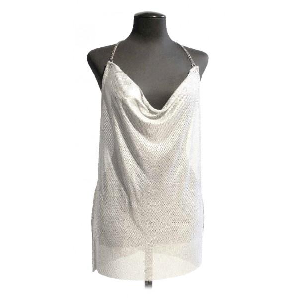 Laura B - Freya Dress - Argento Opaco - Abito in Maglia - Gold Line - Abito di Alta Qualità Luxury