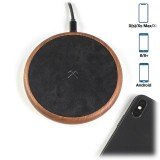 Woodcessories - Wireless Charging Station Dock Qi (10W) - Walnut & Leather - Real Wood Premium Eco Pad - iPhone - Samsung