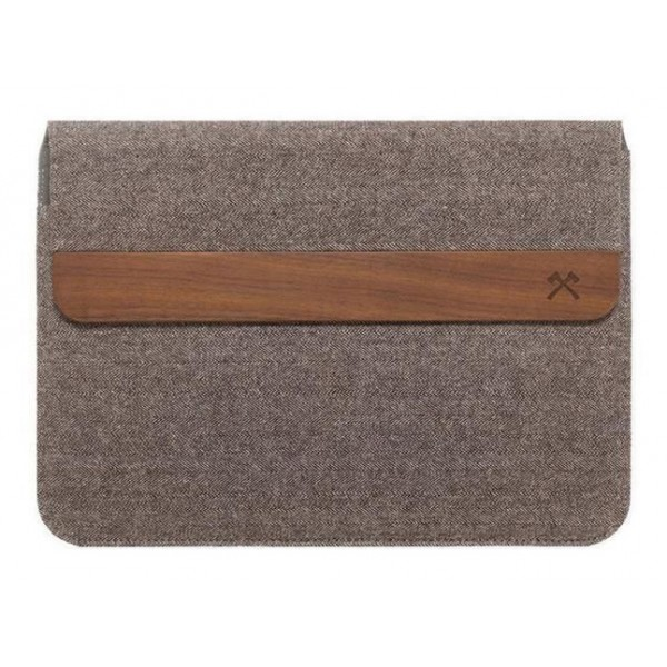 Woodcessories - MacBook Eco Pouch Cover - Noce e Lana - MacBook 15 - Custodia Mac - Borsa MacBook in Vero Legno