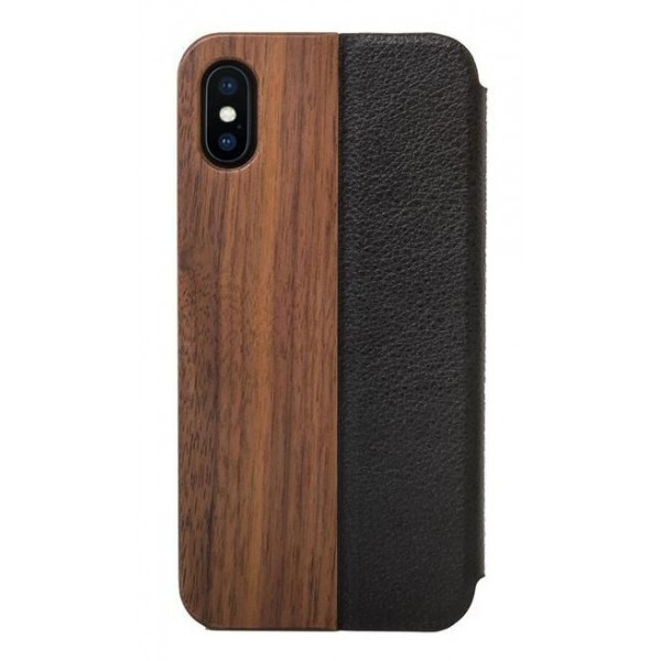 e9b128239c21 Woodcessories - Eco Wallet Flip Cover - Real Wood and Leather - Walnut - iPhone  XS