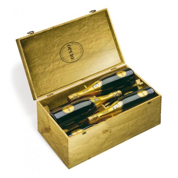 Villa Sandi - Millesimato - Opere Trevigiane - 6 Bottiglie - Cassa in Legno Oro - Vino Spumante di Qualità - Prosecco e Spumanti