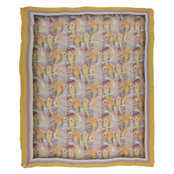 813 - Annalisa Giuntini - Sciarpa in Seta con Pappagalli Colorati - Sciarpe e Foulard - Sciarpa di Alta Qualità Luxury