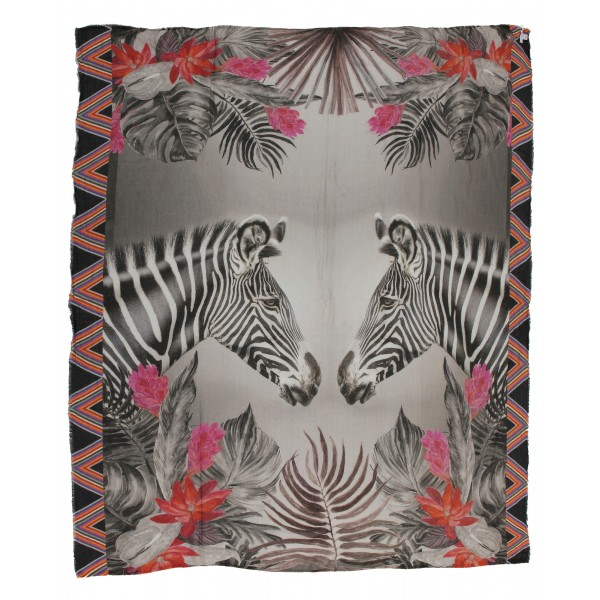 813 - Annalisa Giuntini - Silk Scarf with Zebras, Palm Leaves and Flowers - Scarves and Foulard - Scarf of High Quality Luxury