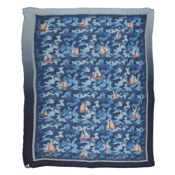 813 - Annalisa Giuntini - Silk Scarf with Boats in Camouflage Blue - Scarves and Foulard - Scarf of High Quality Luxury