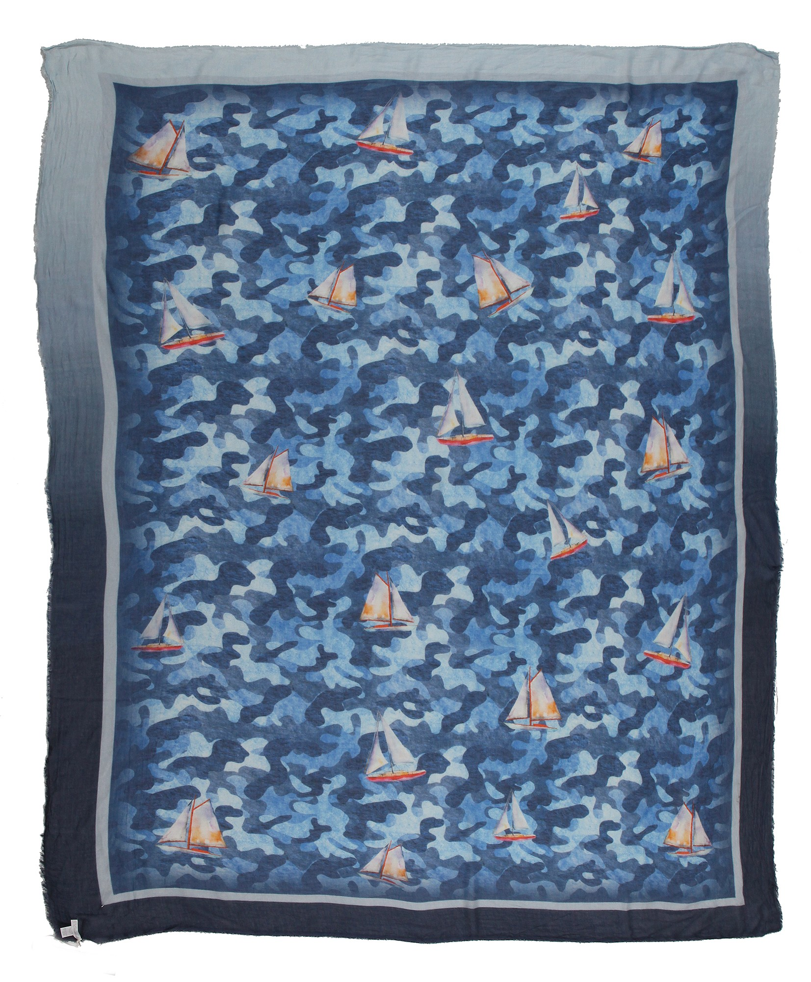 fb301e7f2101e 813 - Annalisa Giuntini - Silk Scarf with Boats in Camouflage Blue - Scarves  and Foulard - Scarf of High Quality Luxury - Avvenice