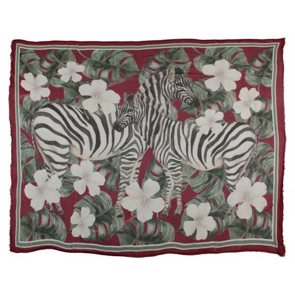 813 - Annalisa Giuntini - Sciarpa in Seta con Zebre, Palme e Fiori - Sciarpe e Foulard - Sciarpa di Alta Qualità Luxury