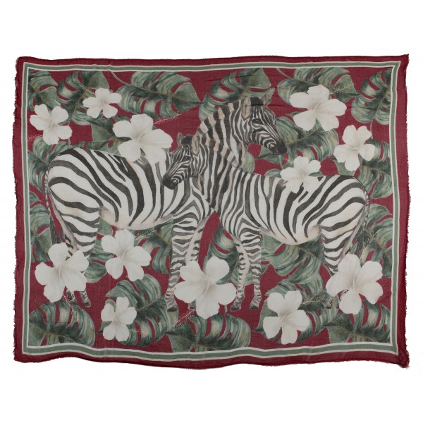 813 - Annalisa Giuntini - Silk Scarf with Zebras, Palms and Flowers - Scarves and Foulard - Scarf of High Quality Luxury