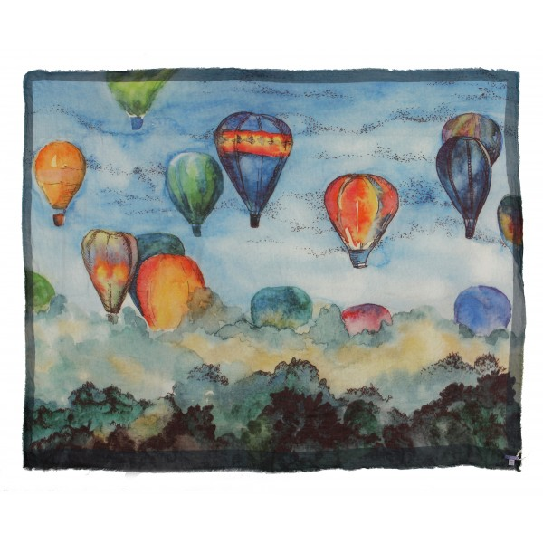 813 - Annalisa Giuntini - Silk Scarf with Hot Air Balloons Fly Over a Wood - Scarves and Foulard - Scarf of High Quality Luxury