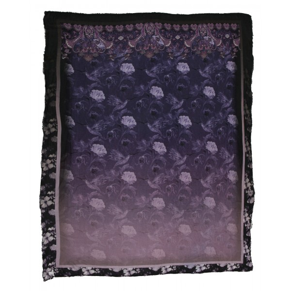 813 - Annalisa Giuntini - Cashmere Scarf with Flowers on Purple - Scarves and Foulard - Scarf of High Quality Luxury