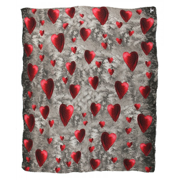 813 - Annalisa Giuntini - Cashmere Scarf with Many Red Hearts - Scarves and Foulard - Scarf of High Quality Luxury
