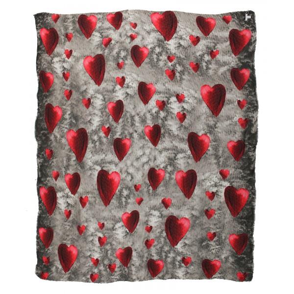 813 - Annalisa Giuntini - Sciarpa in Cashmere con Cuori Rossi - Sciarpe e Foulard - Sciarpa di Alta Qualità Luxury