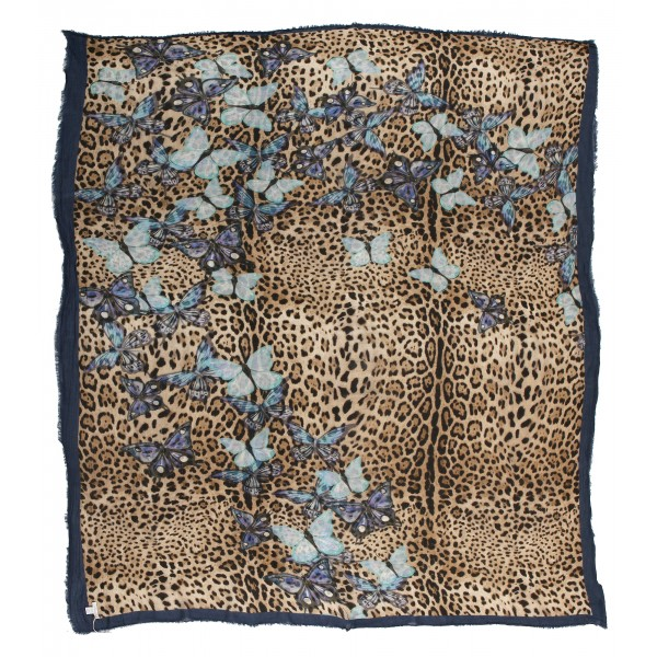 813 - Annalisa Giuntini - Cashmere Scarf with Blue Butterflies - Scarves and Foulard - Scarf of High Quality Luxury