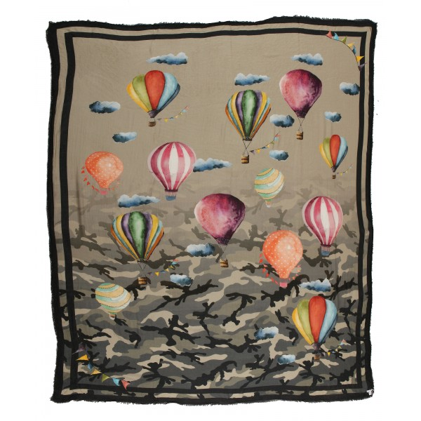 813 - Annalisa Giuntini - Cashmere Scarf with Hot Air Balloons - Scarves and Foulard - Scarf of High Quality Luxury