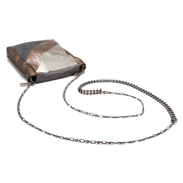 Laura B - Laure Disco Bag - Angnello Bronzo Rosa - Oro Bianco Argento Nero - Borsa a Tracolla - Borsa di Alta Qualità Luxury