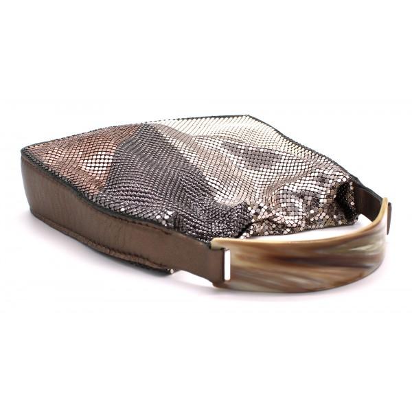 Laura B - Chloe Hand Bag - Pelle Agnello Bronzo Rosa - Oro Bianco Argento Nero - Borsa di Alta Qualità Luxury