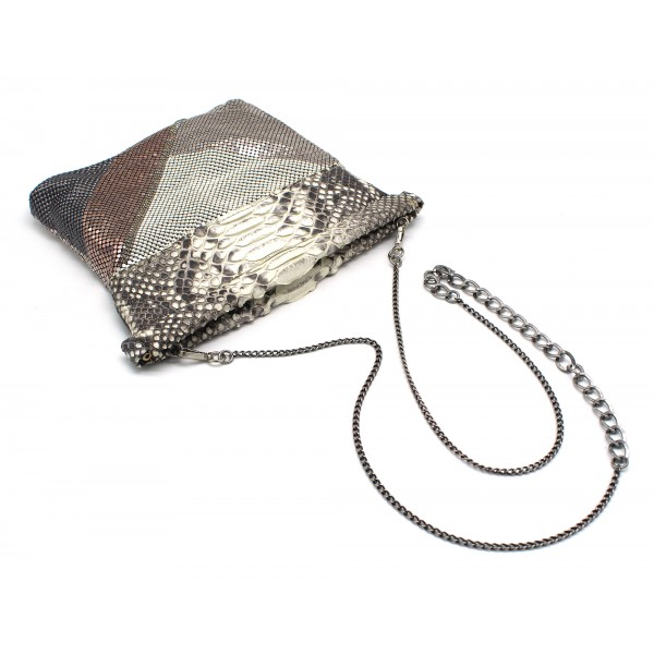 Laura B - Thea Clutch Bag - Natural Python Leather - Rose Silver White - Luxury High Quality Bag
