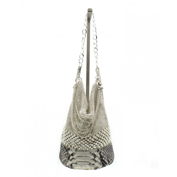 Laura B - Sylvie Round Hand - Natural Python - White - Strap Bag - Luxury High Quality Bag