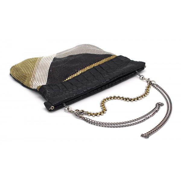 Laura B - Zoe Clutch Bag - Coccodrillo Nero - Nero Oro Bianco Argento - Borsa di Alta Qualità Luxury