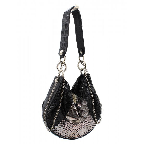 Laura B - U Turn Croco Hand - Black Croco - Black Silver White - Strap Bag - Luxury High Quality Bag