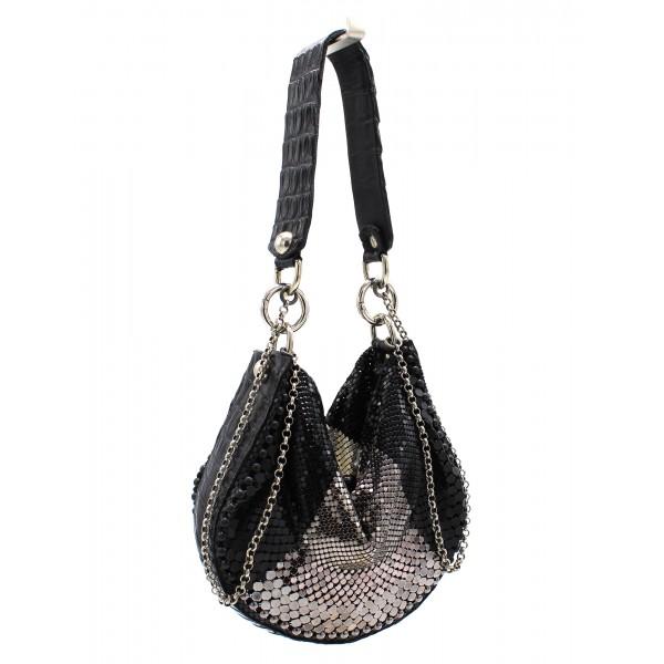 Laura B - U Turn Croco Hand - Coccodrillo Nero - Nero Argento Bianco - Borsa Strap - Borsa di Alta Qualità Luxury