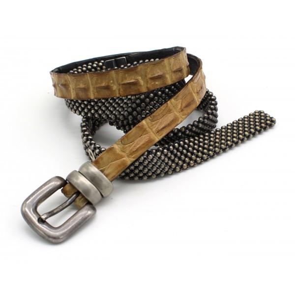 Laura B - Croco Belt - Coccodrillo Beige - Dorè - Cintura in Pelle - Cintura di Alta Qualità Luxury