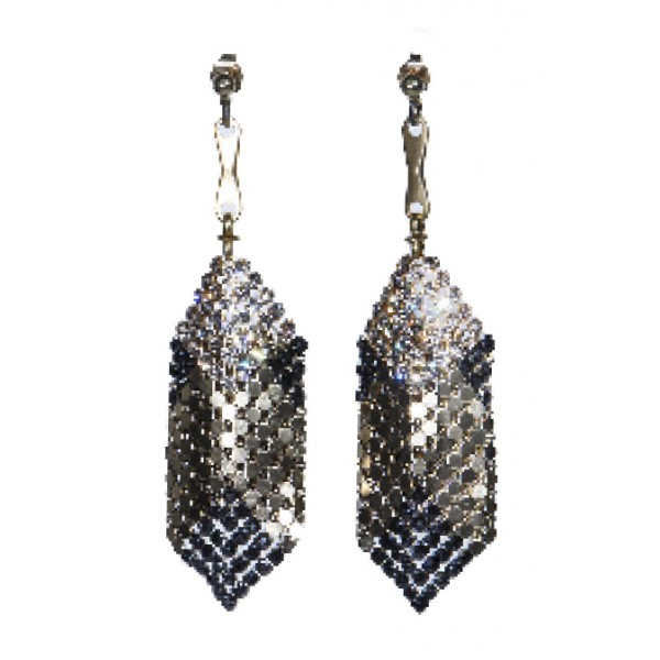 Laura B - Mia Earrings - Mesh and Swarovski Earrings - Doré - Black Swarovski - Handmade Earrings - Luxury High Quality