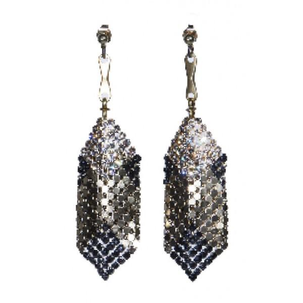 Laura B - Mia Earrings - Orecchini in Maglia e Swarovski - Doré - Swarovski Neri - Orecchini Artigianali - Alta Qualità Luxury